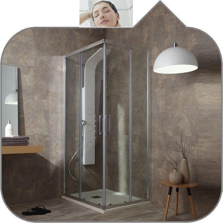 Box doccia FLEX tamanaco scorrevole 3 lati con 1 lato fisso in vetro  temperato 6 mm 3 finiture,trattamento easy clean incluso struttura  alluminio ...