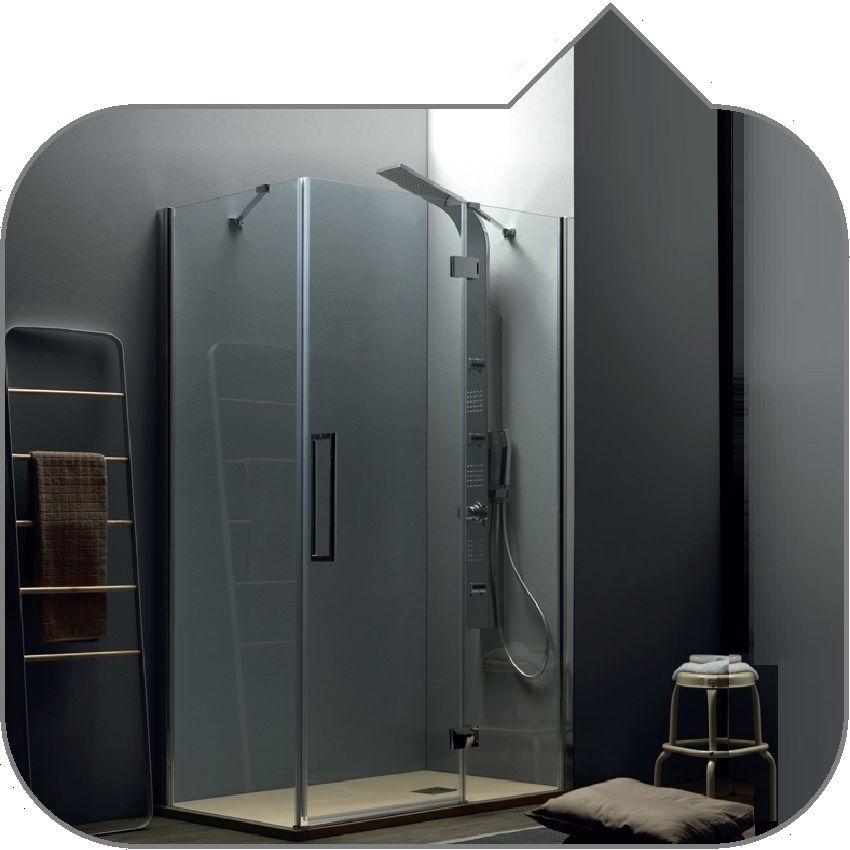 Box doccia tamanaco tepb43+telf con porta battente + lato fisso in vetro  temperato da 6 mm solo trasparente reversibile dx o sx h 2000 mm  trattamento ...