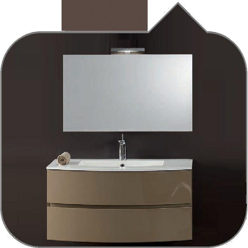 Lavabo In Ceramica O Mineralmarmo.Composizione Mobile Da Bagno Un01 Mobiltesino Base Sospesa Curva Cm 95x43 53h47 Con 2 Cassetti Compreso Lavabo In Mineralmarmo Specchio E Lampada A