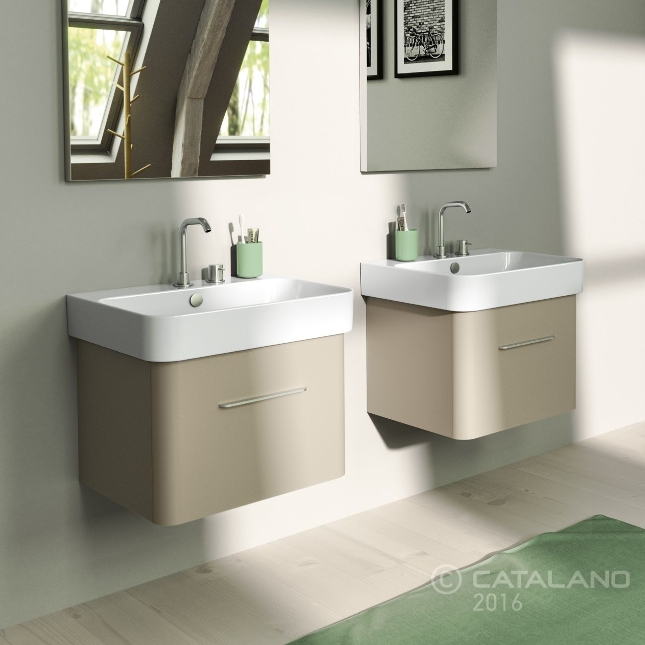 Lavabo A Colonna Design green 60 catalano lavabo installazione sospesa, semincasso, su colonna o  mobile 60x50 bianco 1°scelta fissaggi n° 1 kit z3443 non incluso